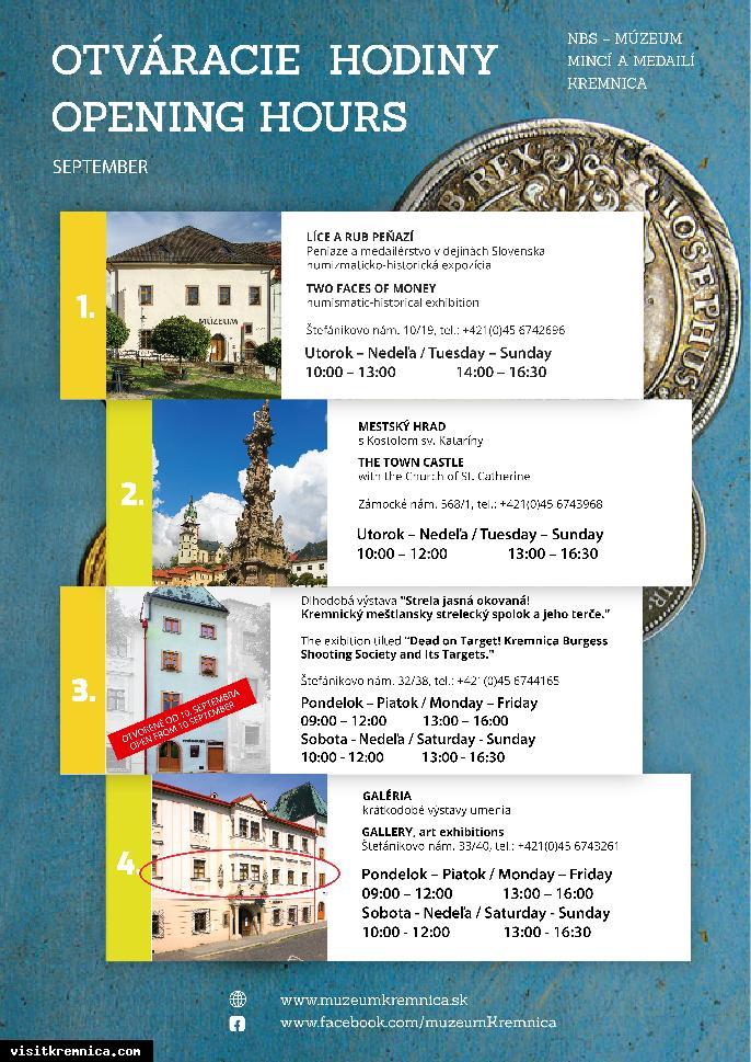 NBS - Múzeum mincí a medailí v septembri 2020